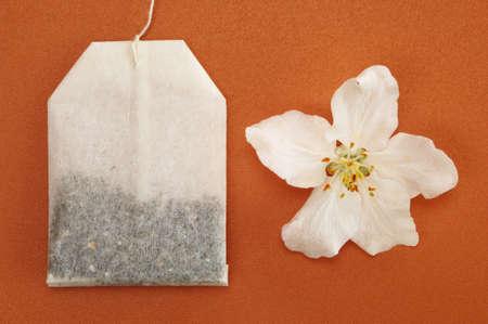 birdseye: Tea bag by apple flower