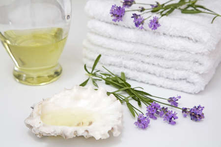 auras: Lavender, towels and shell, close-up