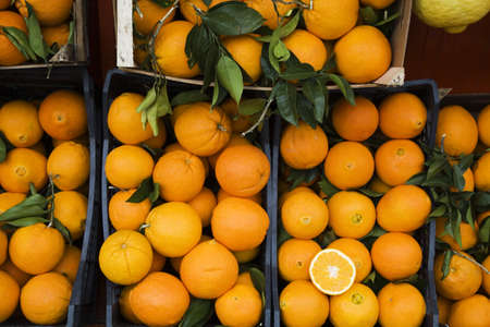 elevated view: Oranges in crates, market stall, elevated view LANG_EVOIMAGES