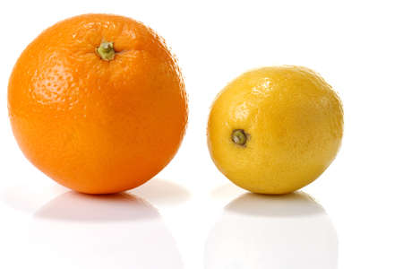 citrons: Orange and lemon, close-up