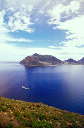 scenaries: Hout Bay, today still fishing industry for Crayfish, view from Chapmans Peak Drive, Western Cape, Capetown, South Africa