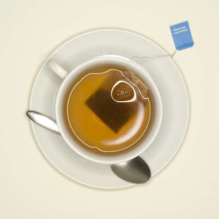 elevated: Cup of tea, elevated view LANG_EVOIMAGES