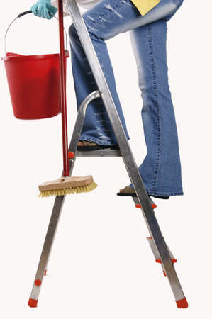 Woman standing on step ladder, holding bucket and brush