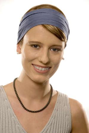 auspiciousness: Young woman smiling, portrait LANG_EVOIMAGES