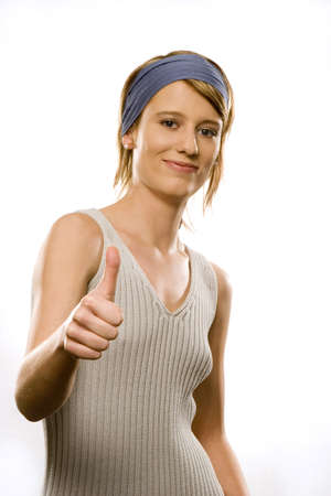 Young woman, portrait, thumbs up
