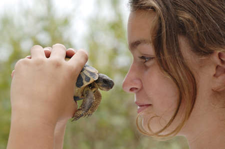 10 15 years: Girl (10-13) holding turtle, profile, close-up