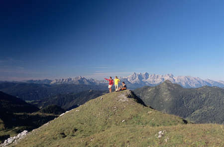 only women: Austria Salzburger Land three people on mountain top LANG_EVOIMAGES
