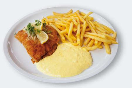 bleu: Cordon bleu with potato fries and sauce hollandaise on white background LANG_EVOIMAGES