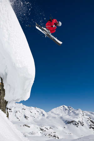 skier jumping: Austria Salzburger Land Gerlos Skier jumping from Mountain side view elevated view