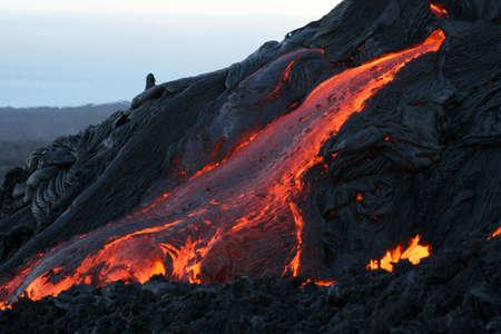 physical geography: hawaii  pahoehoe lava leaving lava tube