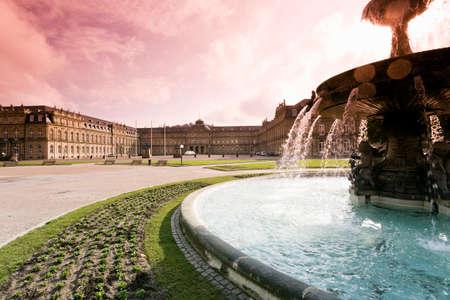 Germany Stuttgart Fountain at the Schlossplatz