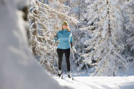 Austria Tyrol Seefeld Woman cross country skiing