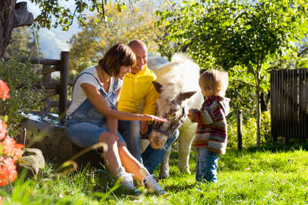 Parents with child sitting in garden playing with pony