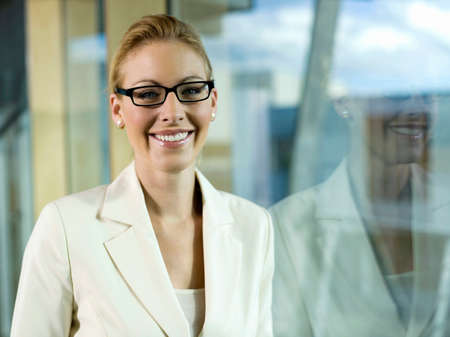 wearing spectacles: Young businesswoman wearing spectacles portrait
