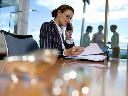pinstripes: Businesswoman working in office using telephone side view LANG_EVOIMAGES