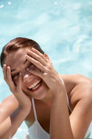 swimmingpool: Woman in swimmingpool portrait