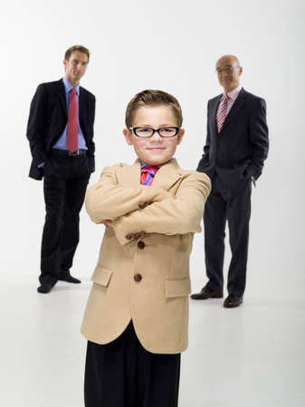 business cloth: Grandson 89 grandfather and son wearing business cloth portrait