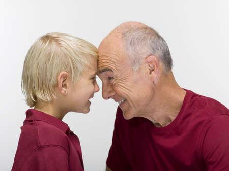 Grandson 89 and grandfather portrait closeup LANG_EVOIMAGES
