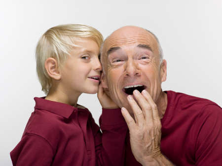 receding hairline: Portrait Grandson 89 and grandfahter closeup LANG_EVOIMAGES