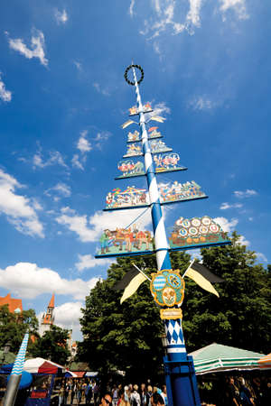 maypole: Germany Bavaria Munich Maypole on Viktualienmarkt