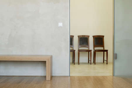 four objects: Chairs and table inside modern room