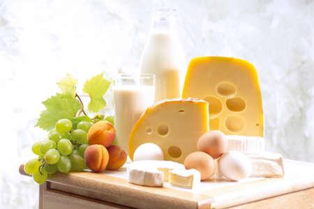 foodstill: Foodstill with cheese eggs and milk
