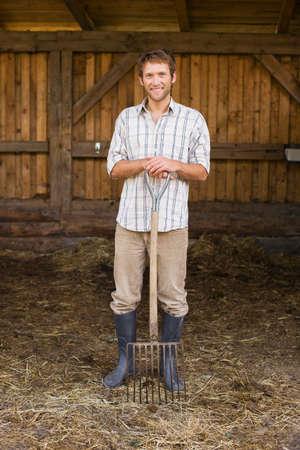 hayfork: Farmer with hayfork