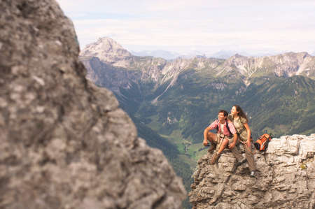couple nature: Austria Salzburger Land couple on mountain top