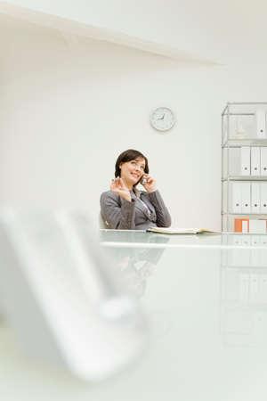 everyday jobs: Businesswoman using mobile phone portrait