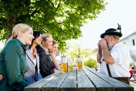beer garden: Germany Bavaria Upper Bavaria People in beer garden