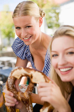 beer garden: Germany Bavaria Upper Bavaria Waitress serving beer in beer garden