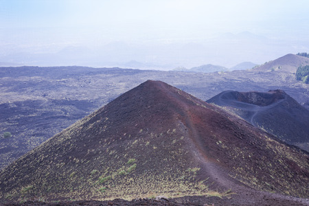 The Silvestri Craters on Mount Etna, volcano on Sicily, Italy