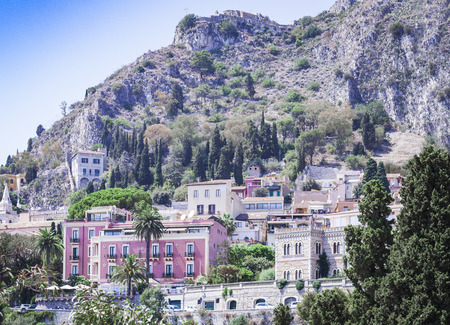 View of the old buildings in Taormina, Sicily, Italy