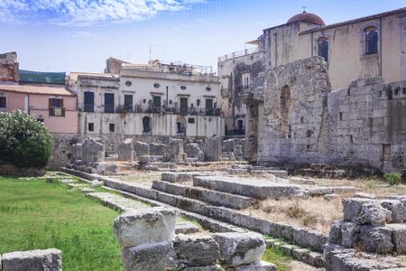 Temple of Apollo in Ortygia (Ortigia) Island, Syracuse, Sicily, Italy