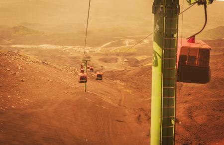 Elevators lift to Mount Etna, Catania, Sicily, Italy