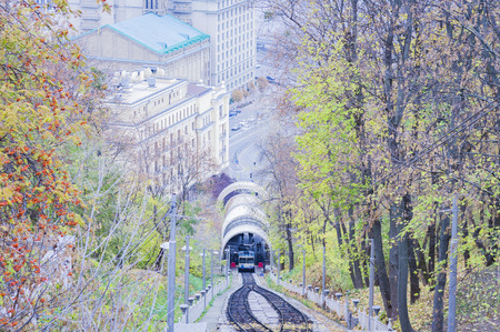 Urban funicular in Kiev, Ukraine Stock Photo