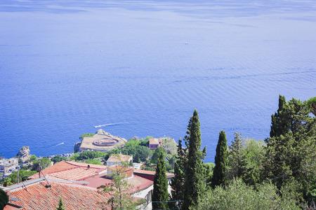 Sea view from Parco Colonna, Taormina, Sicily, Italy Stock Photo