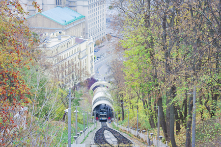 Urban funicular in Kiev, Ukraine - popular public transport Stock Photo