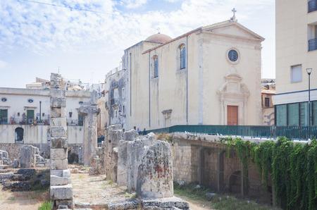 Ruins of Apollo in Ortygia Island, Syracuse, Sicily Stock Photo