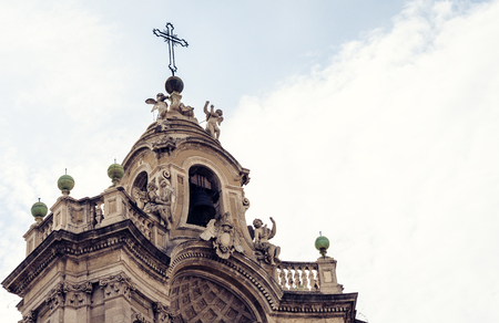 Fragment of ancient cathedral. The view of the city of Catania, Sicily, Italy
