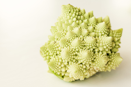 Fresh roman cauliflower, romanesco broccoli cabbage isolated on white background with copy space