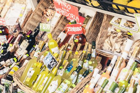 Taormina, Sicily, Italy – august 06, 2018: different food products in the souvenir shop