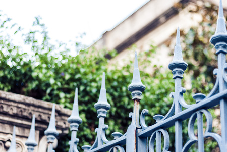 Old baroque metal sharp fence in Catania, Sicily, Italy