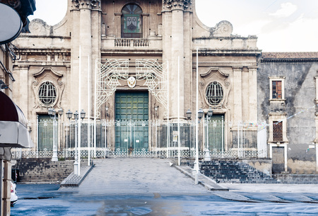 fragment of ancient cathedral, the view of the city of Catania, Sicily, Italy Imagens