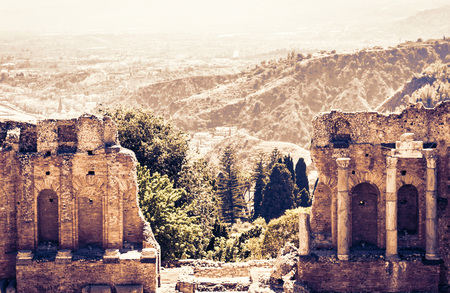 Fragment of ruins of amphitheater in Taormina, Sicily, Italy Banco de Imagens