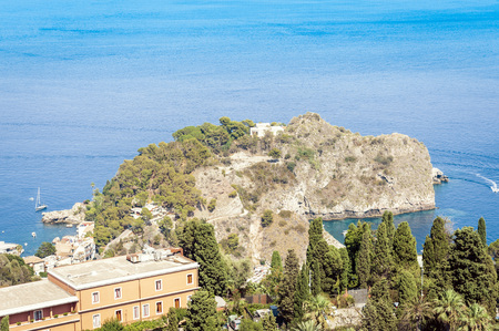 Sea view with famous island Isola Bella from Taormina, Sicily, Italy 写真素材