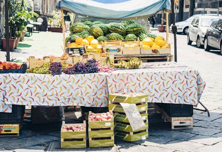 Catania, Sicily, Italy – august 16, 2018: market square, Stall with vegetables and fruits