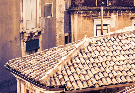 Sicily sunset with Catania rooftops, aerial cityscape