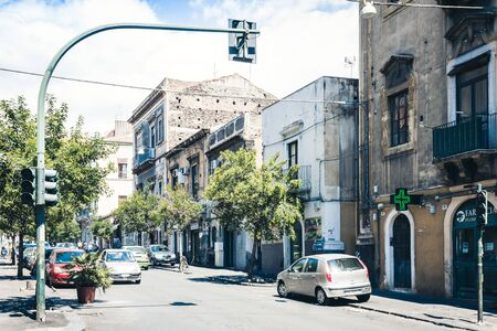 Catania, Sicily - august 16, 2018: beautiful cityscape, facade of old buildings