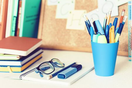 Back to school background. Stationery accessories - pens